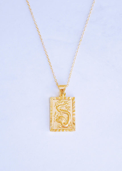 Gold Chinese Dragon Pendant