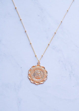 Saint Christopher Lotus Necklace