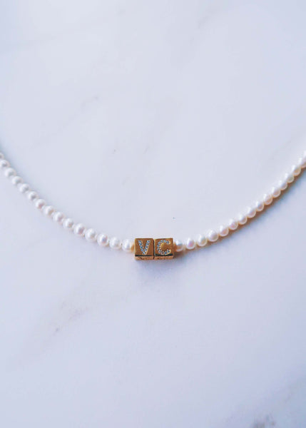 Pave Pearl Initial Choker