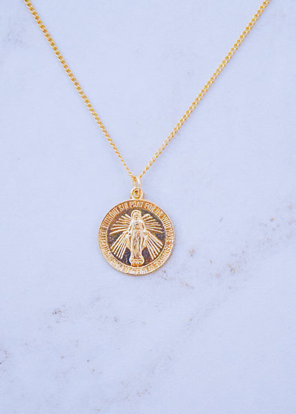 Mother Mary Coin Necklace
