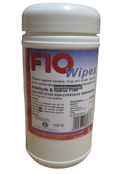 F10 Disinfectant Wipes 100 pack sanitise cleaning