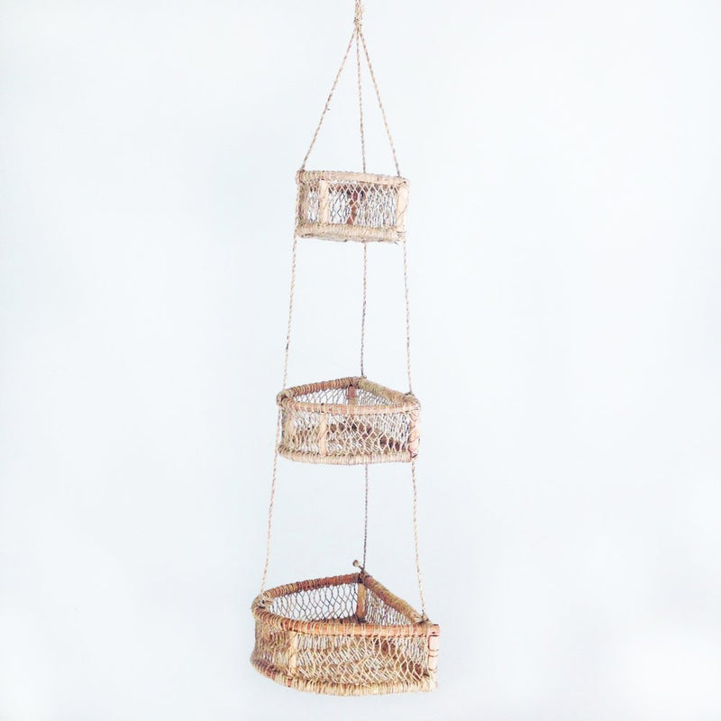 HAND WOVEN TIERED HANGING BASKET