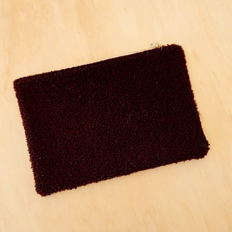 Burgandy Sheepskin Clutch