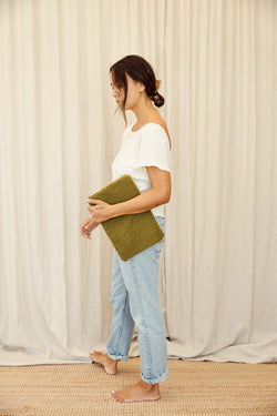 Khaki Sheepskin Clutch