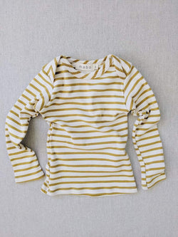 chartreuse striped nautical tee