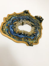 "16"" gold, crystal and sapphire Geode"