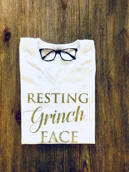 White Resting Grinch face Cotton womens t shirt
