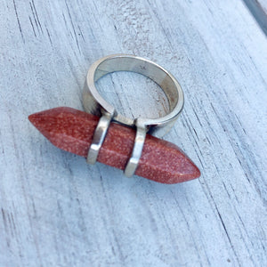 Gold Stone Sterling Silver Ring - Payvand