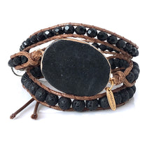 Lava Bead Leather Wrap Bracelet