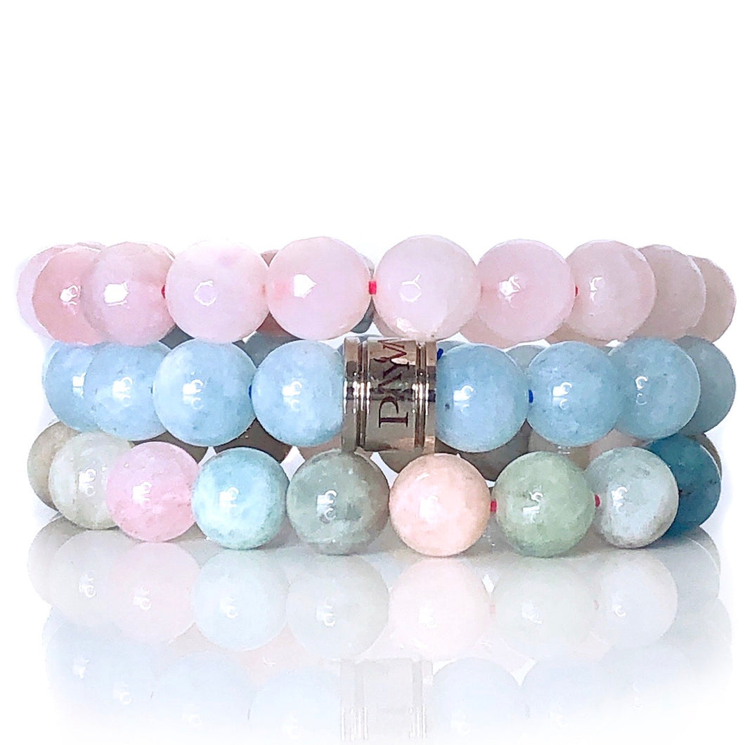 Aquamarine Morganite & Rose Quartz Bracelet