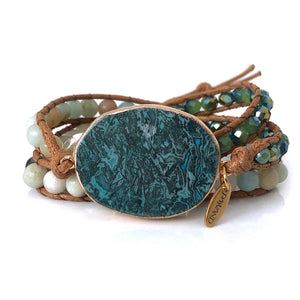 Amzonite Leather Wrap Bracelet