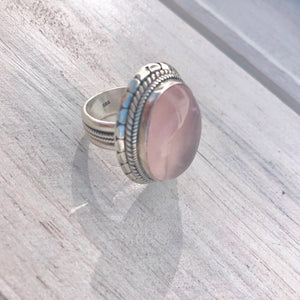 Rose Quartz Sterling Silver Ring - Payvand