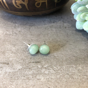 Green Aventurine Large Stud Earrings