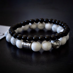 White Howlite & Black Onyx Set