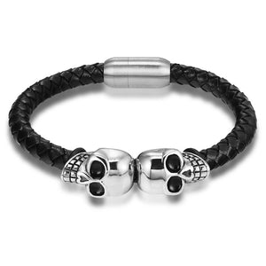 Double Skull Leather Bracelet - Payvand