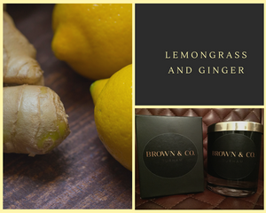 """Lemongrass and ginger"" soy wax candle - Brown and Co. Durham"