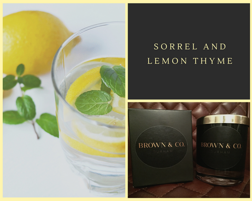 """Sorrel and lemon thyme"" soy wax candle - Brown and Co. Durham"