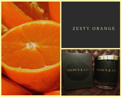 """Zesty orange"" soy wax candle - Brown and Co. Durham"