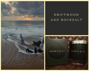 """Driftwood and rocksalt"" soy wax candle - Brown and Co. Durham"