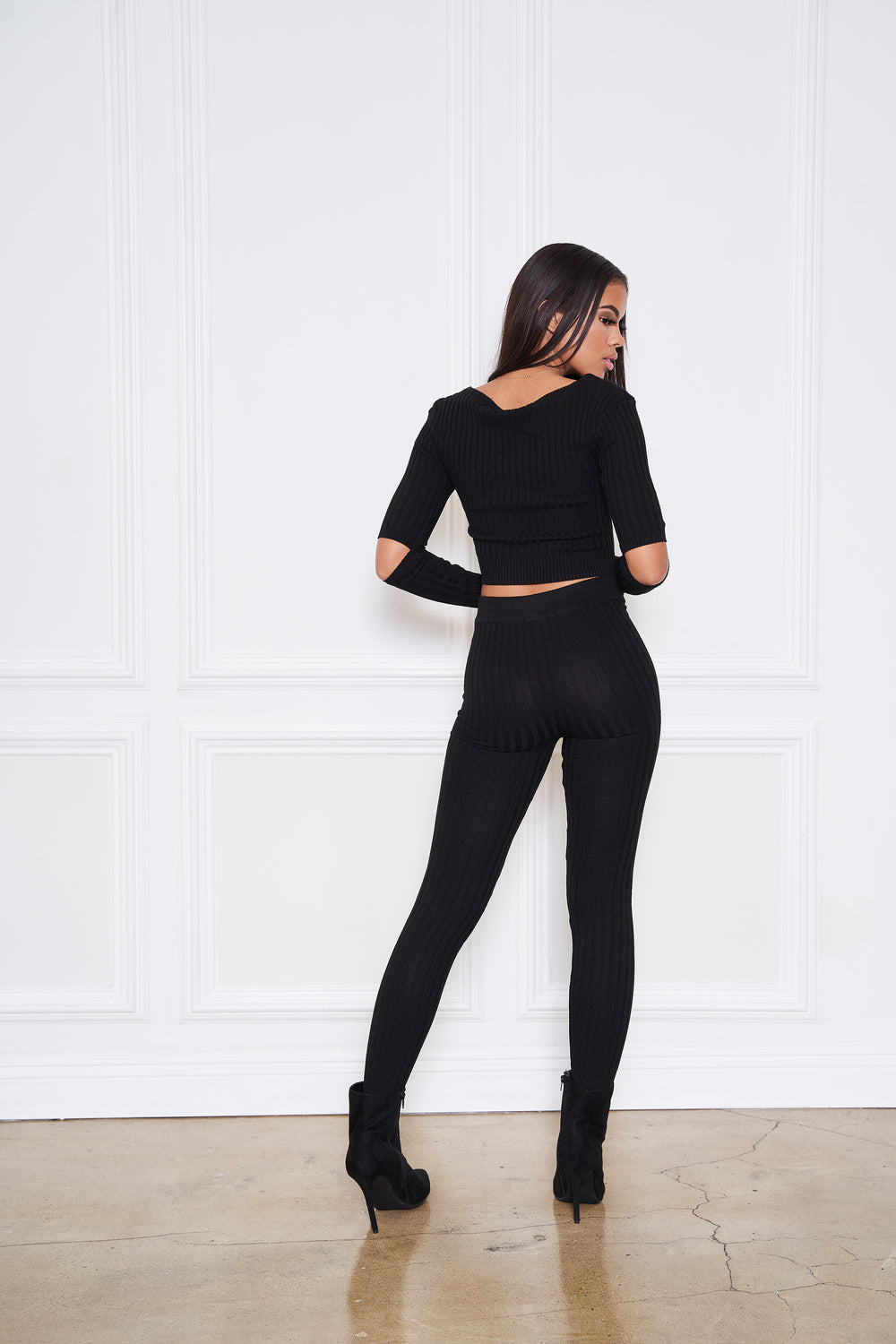 A Mood | Two piece Ribbed Set (Black)