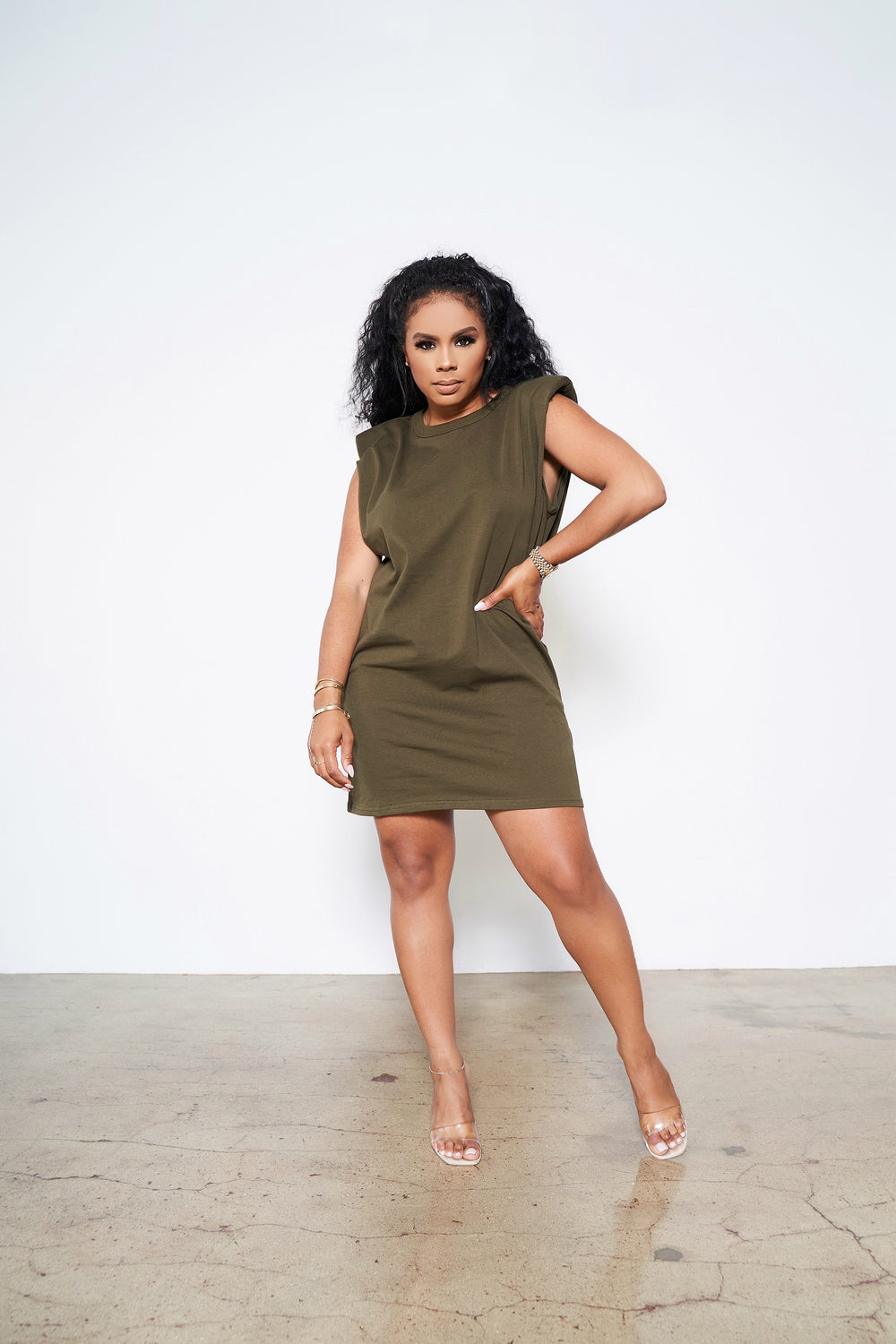 Perfectly Padded  |Padded Shoulder Muscle Dress