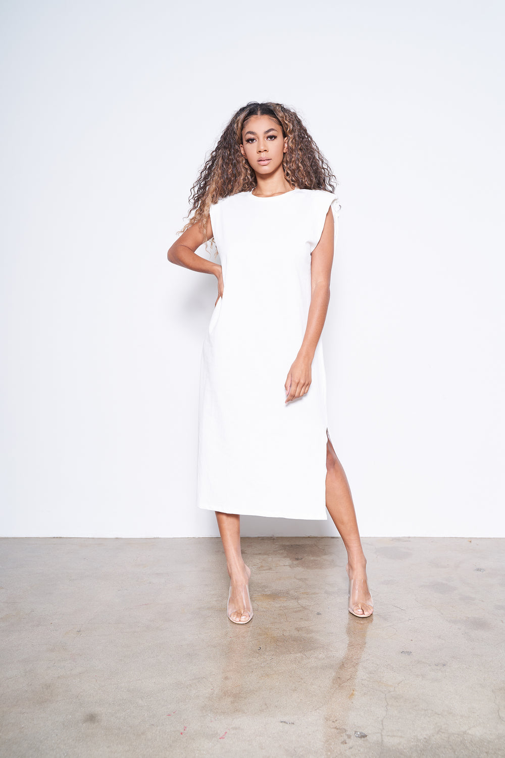 On the Go | Padded Shoulder T-Shirt Dress (white)