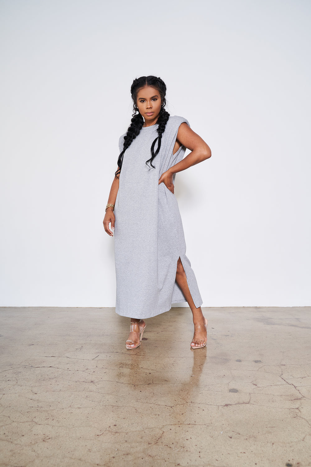 On the Go | Padded Shoulder T-Shirt Dress (Grey)