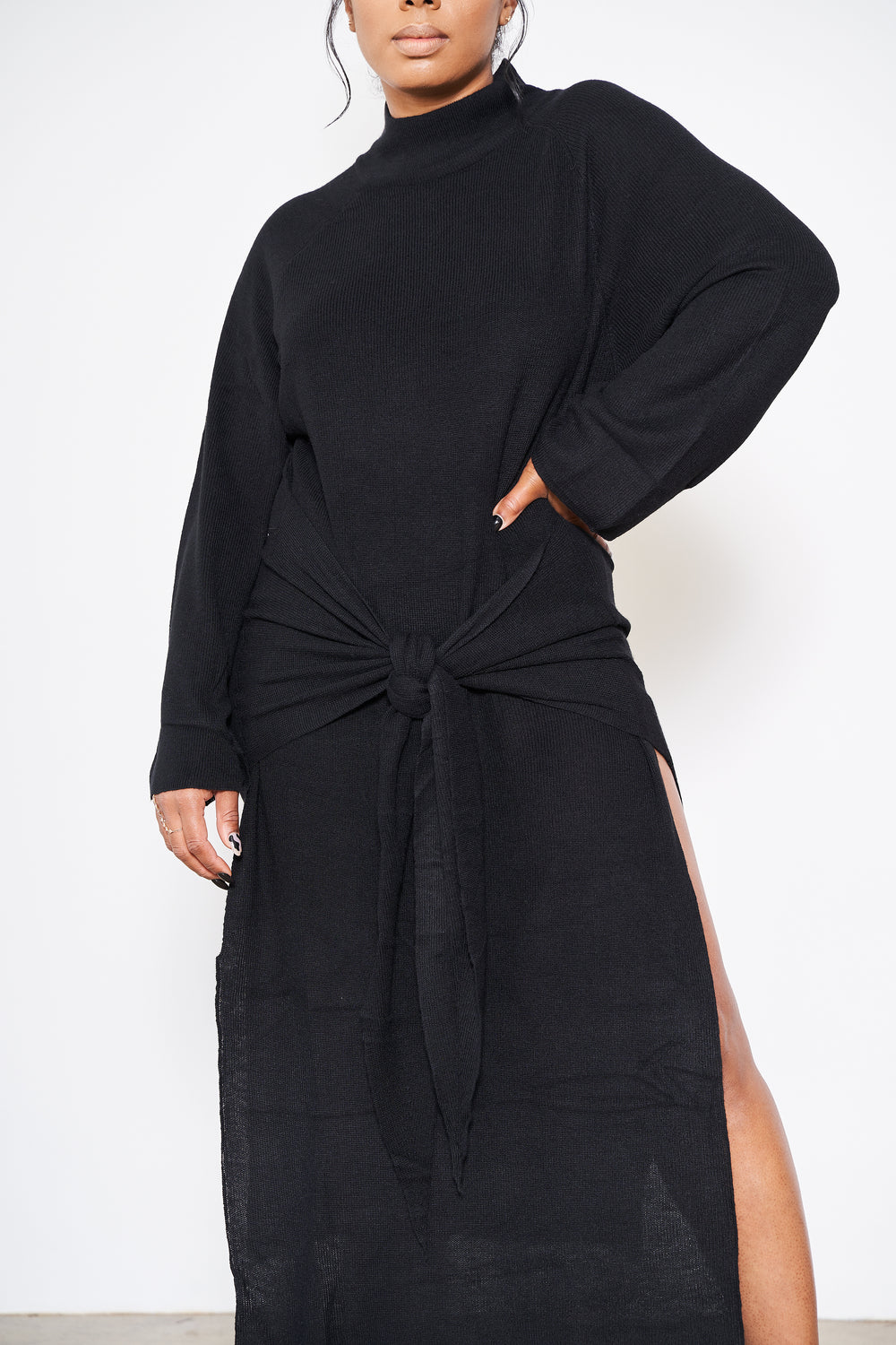 A Different Cloth | Sweater Dress (Black)