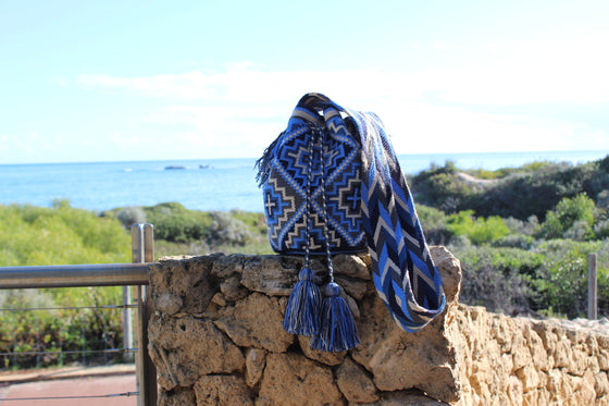 Wayuu Mochila Bag | Pattern Design | Sky