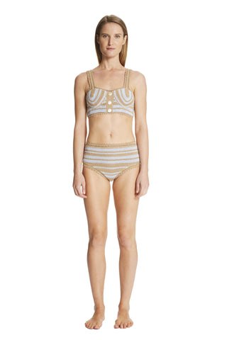 Daisy Cotton Crochet High-Waisted Bikini Bottom