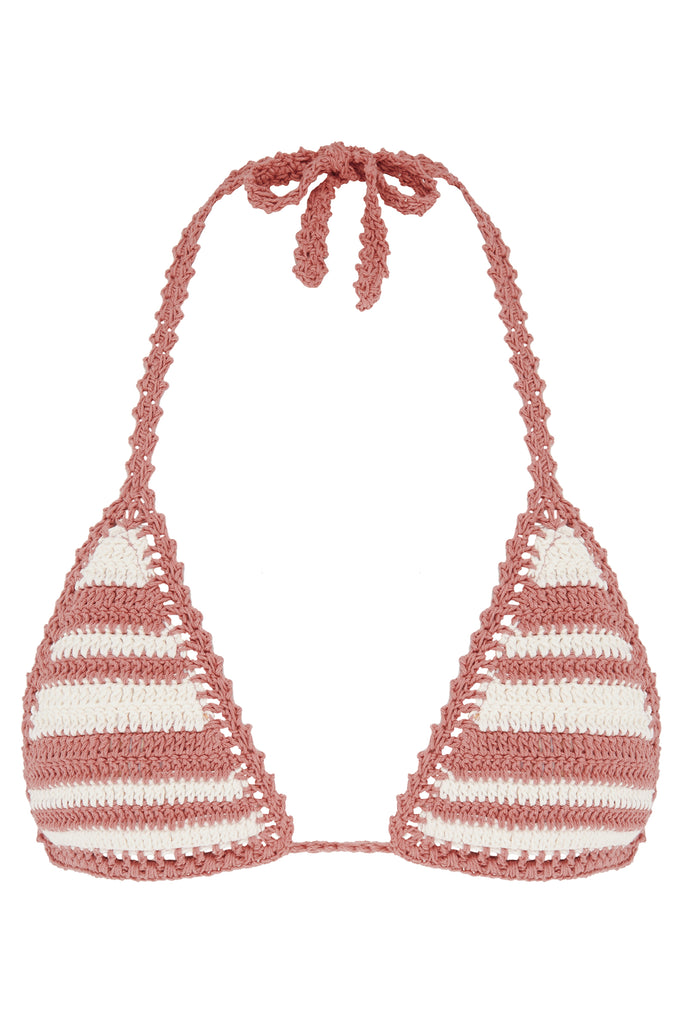 Daisy Cotton Crochet Sliding Halter Bikini Top