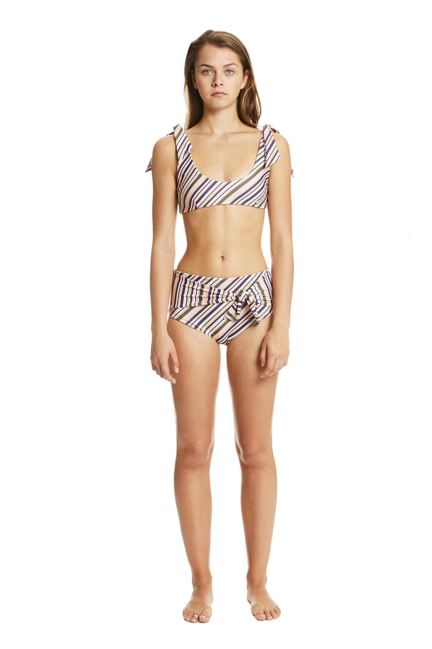 Devi Stripe High Waisted Bikini Bottom