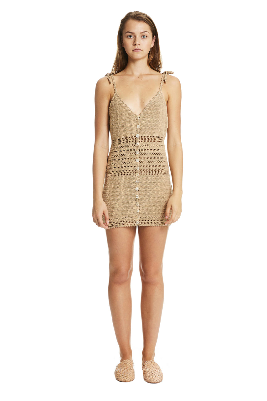 Sita Crochet Mini Dress Sand