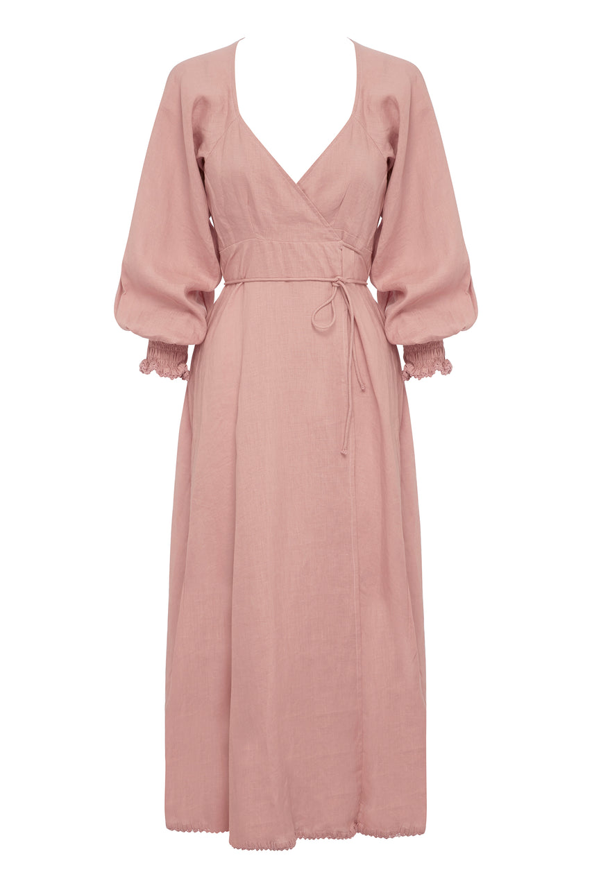 KEYA LINEN WRAP DRESS