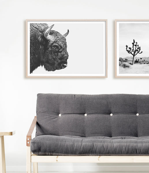american buffalo print living room art bison print southwestern decor