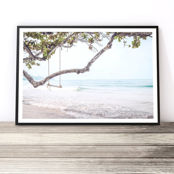 beach swing print coastal wall art ocean wall art