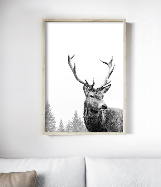 black and white deer print deer wall art scandinavian print deer antler art
