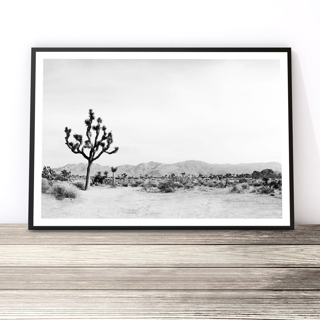 black and white joshua tree print desert wall art