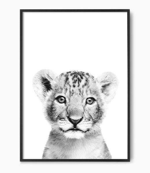 black and white lion cub print kids room art