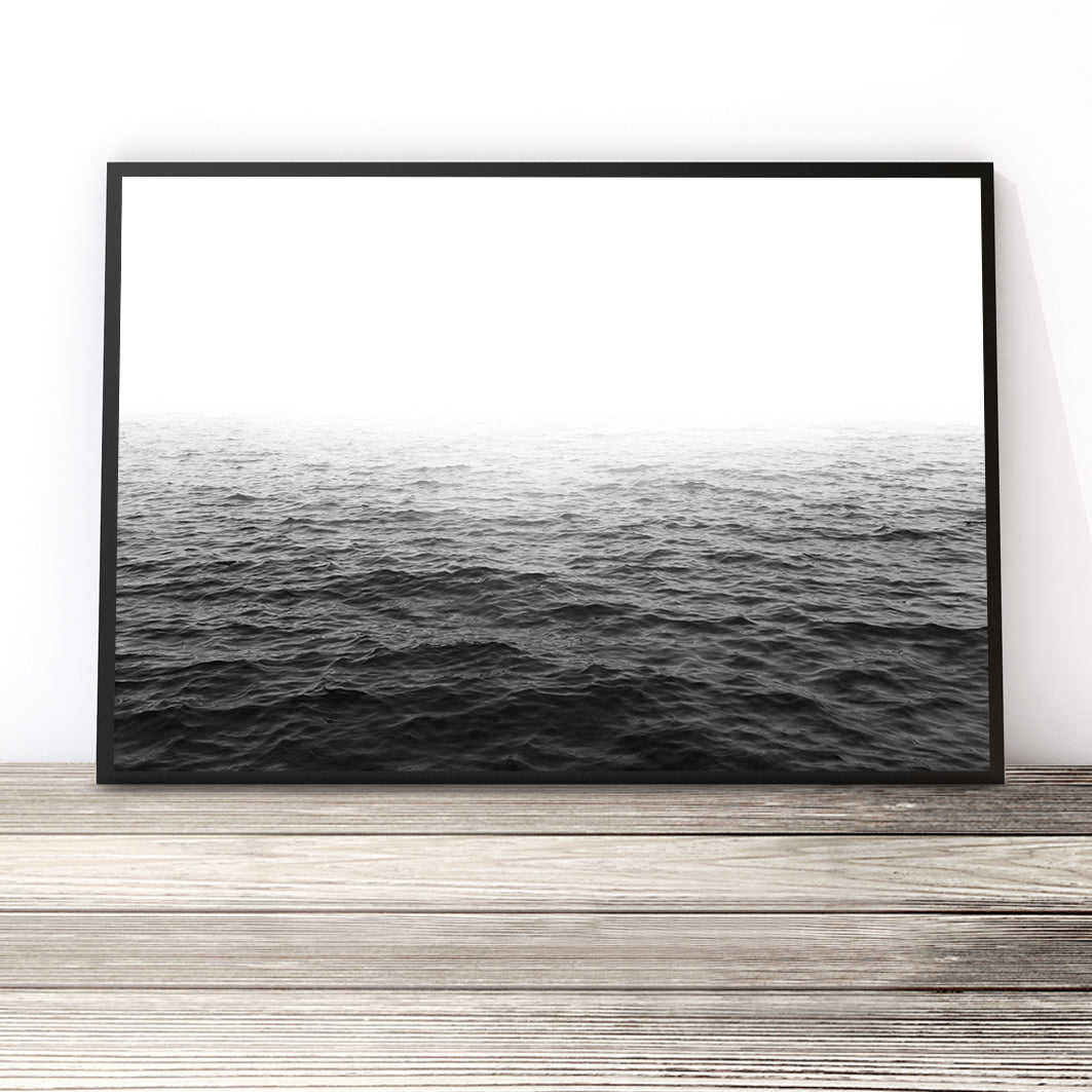 black and white ocean print photography