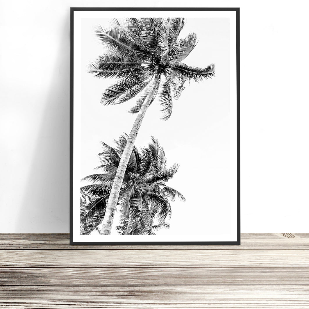 black and white palm tree print tropical wall art