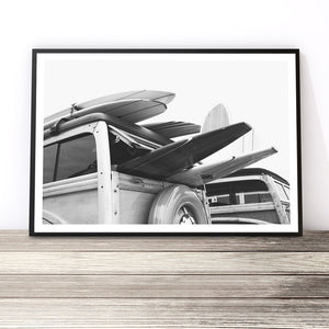 black and white surf van print surf wall art