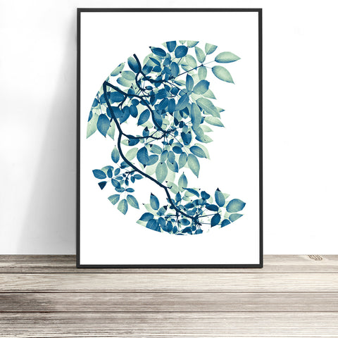 botanical print, lush foliage leaf art