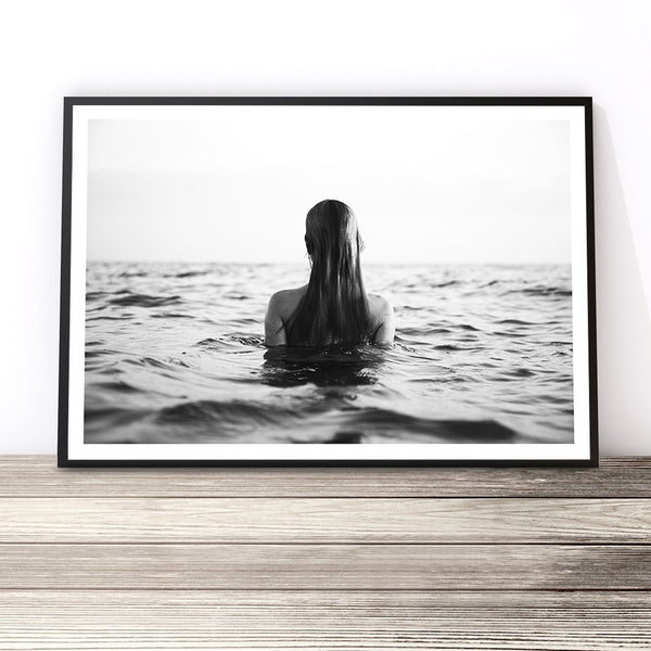 girl in ocean print coastal wall print