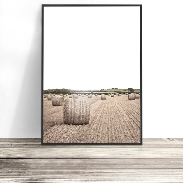hay bale photography print farmhouse wall art farm landscape photography