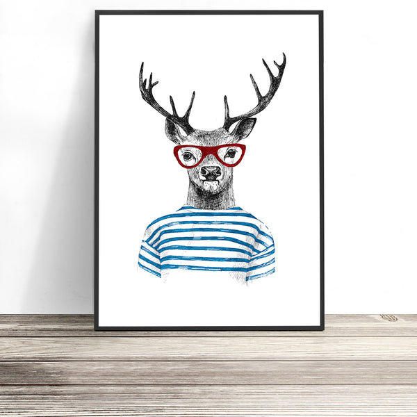hipster deer print modern kids wall art