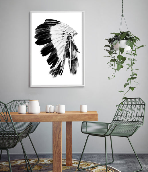indian headdress print tribal art boho decor