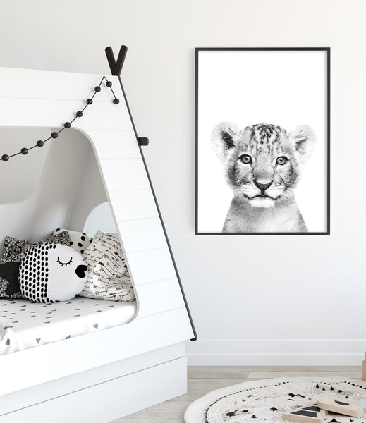 lion-cub-print-modern kids room art toddler room print baby animal wall art