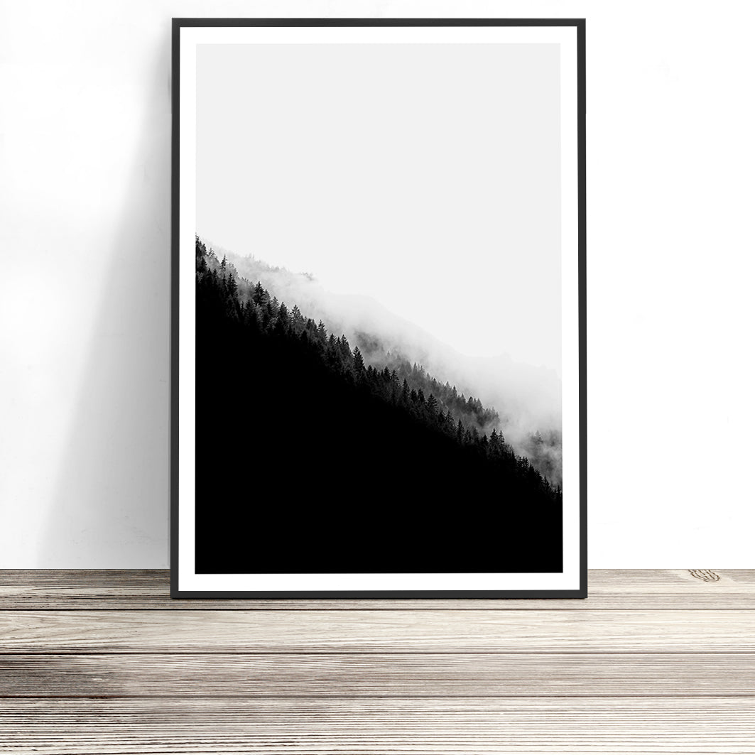 mountain range print black and white art
