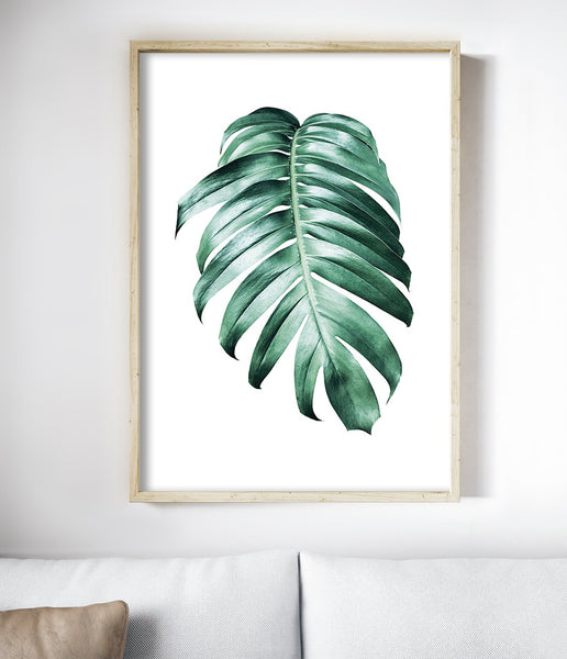 monstera leaf print tropical art